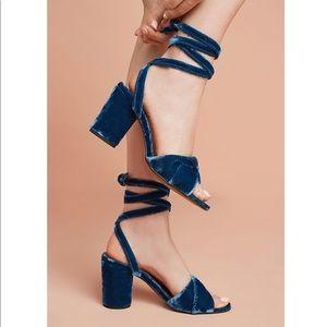 Anthropologie Hudson Velvet Ankle-Tie Heels